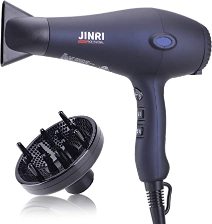 1800W Hair Dryer, Negative Ionic Blow Dryer Professional Salon Hair Blow Dryer Lightweight Fast Dry Low Noise, with Concentrator, Diffuser, 2 Speed