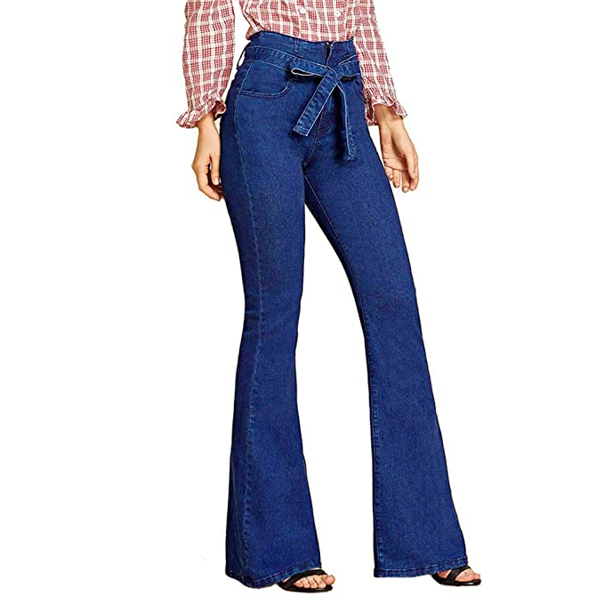 Lazzboy Mujer Los Pantalones Vaqueros elásticos de Cintura ...