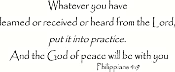 Amazon com: Philippians 4:9 Wall Art, Whatever You Have