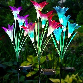 Lampara Solar Flores Juego de 3 Luces Solares con 12 Flores de Lirio Luces Exterior Lampara Energía Solar para Jardín, Patio, Césped Decoración: Amazon.es: Iluminación