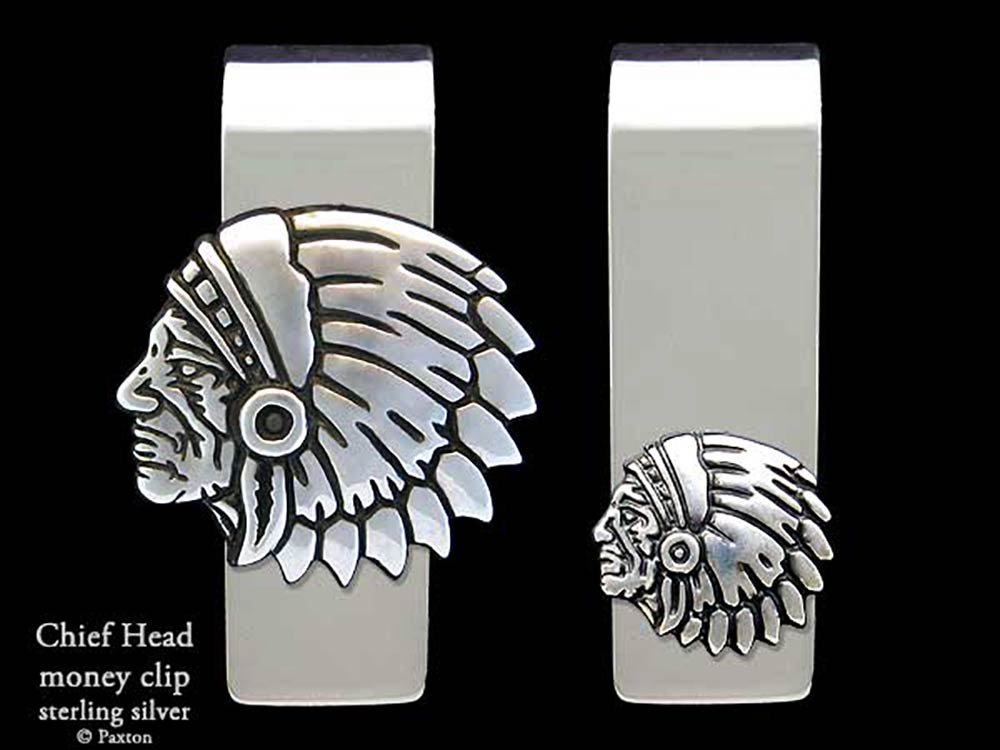 Chief Head Money Clip in Solid Sterling Silver Hand Carved, Cast & Fabricated by Paxton