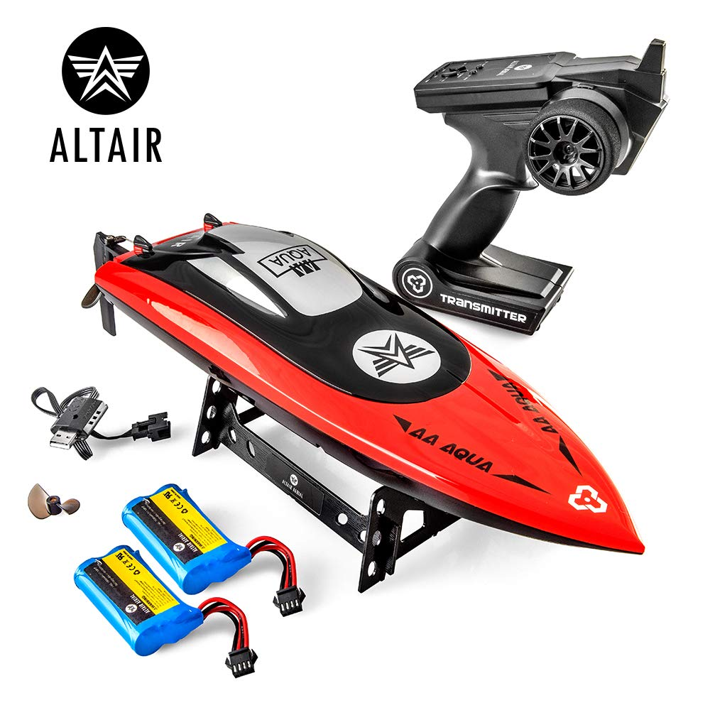 Altair AA Aqua Fast RC Remote Control Boat for Pools & Lakes, Unique CSP Child Safe Propeller System for Kids, Self Righting, Water Cooled, 2 Batteries, 30 km/h Speed, 2.4Ghz, (Lincoln, NE Company)
