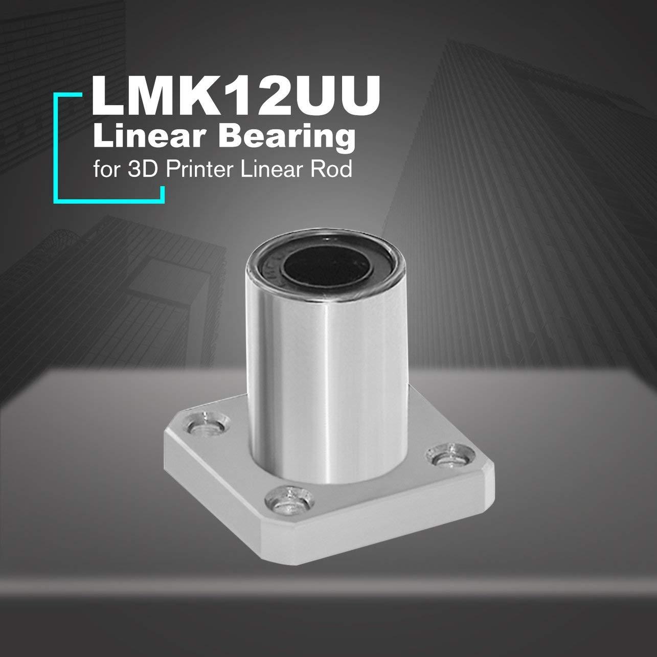 1PC LMK12UU dr: 12 mm Tipo de brida cuadrada lineal a bolas bujes ...