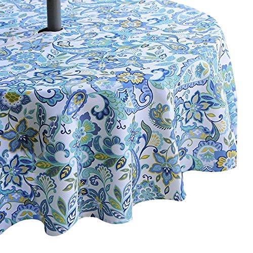 Cheap  Lahome Scroll Floral Outdoor Tablecloth with Umbrella Hole - Water Resistant Spillproof..