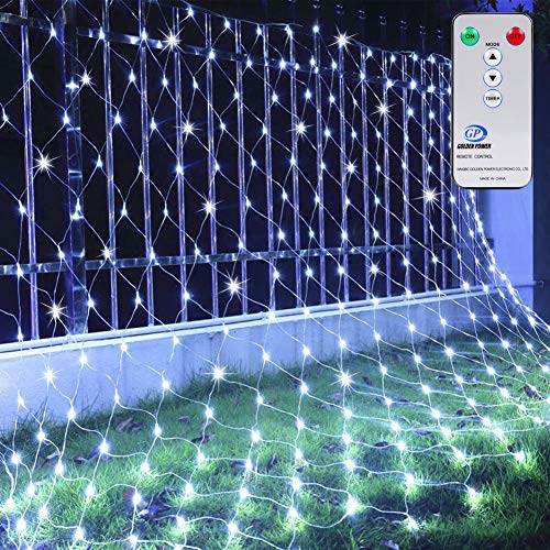 Ollny LED Net Mesh Fairy String Decorative Lights 200 LEDs 9.8ft x 6.6ft Tree-wrap Lights with Remote for Christmas Outdoor Wedding Garden Decorations White]()