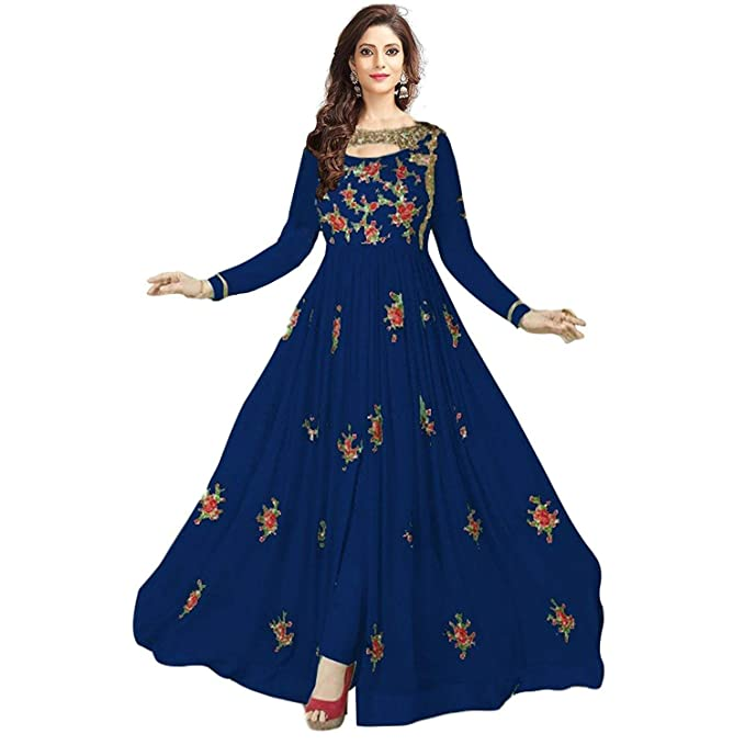 00394eccd3 Sukhvilas Fashion Women s Georgette Santoon Semi-Stitched Embroidery  Anarkali Churidar Salwar Suit (Blue