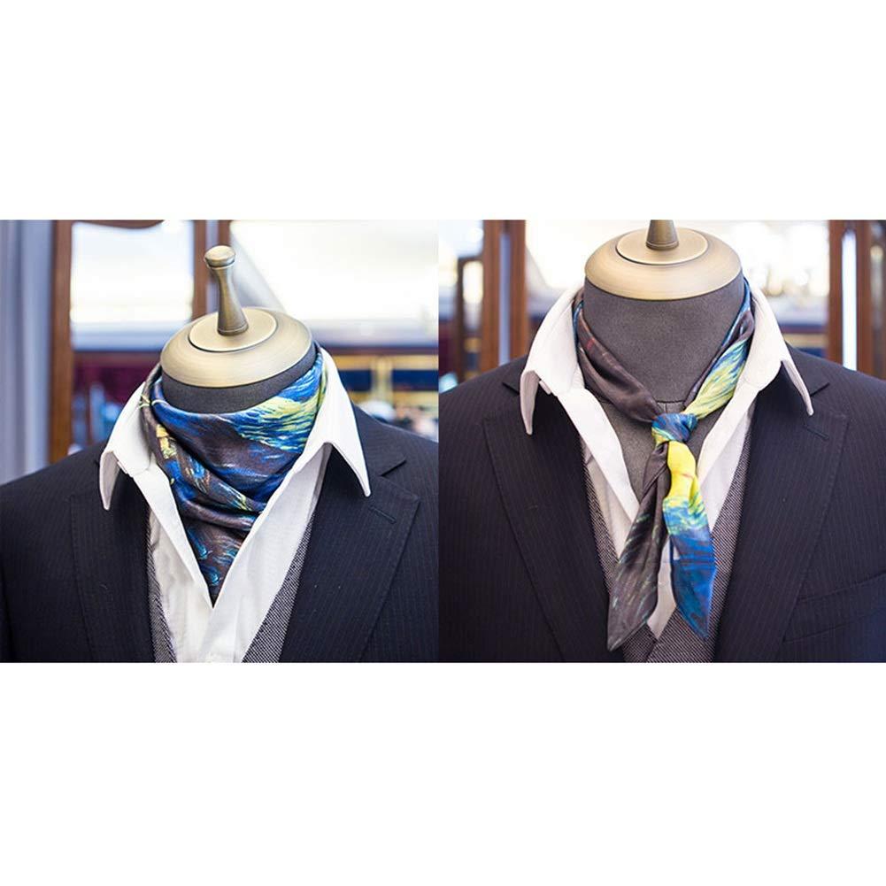 G YANGJUN Neckties Scarf Business Leisure Fashion Silk Accessories Office Wedding Gift Retro, 7 colors (color   C, Size   52x52cm)
