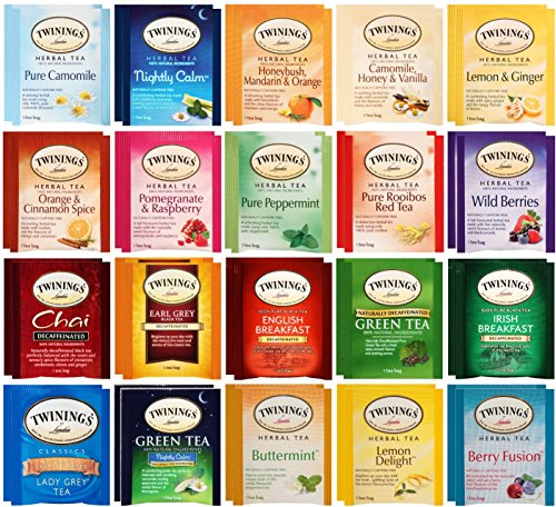 By The Cup Honey Stix and Tea Bag Gift Set - Twinings Herbal & Decaf Tea Sampler - 40 Count Assortment by By The Cup