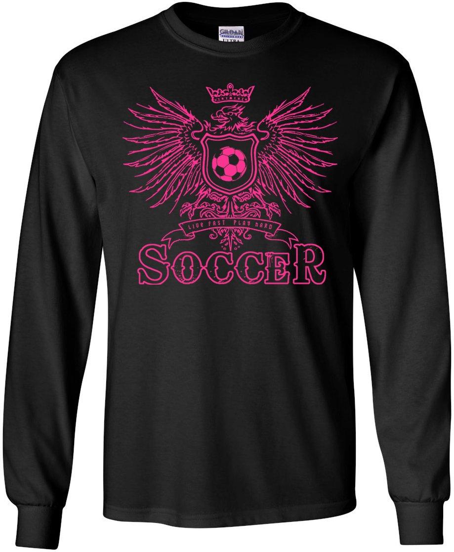長袖サッカーTシャツ: Girls Eagle Soccer B00Q3BYMTAブラック Adult Small