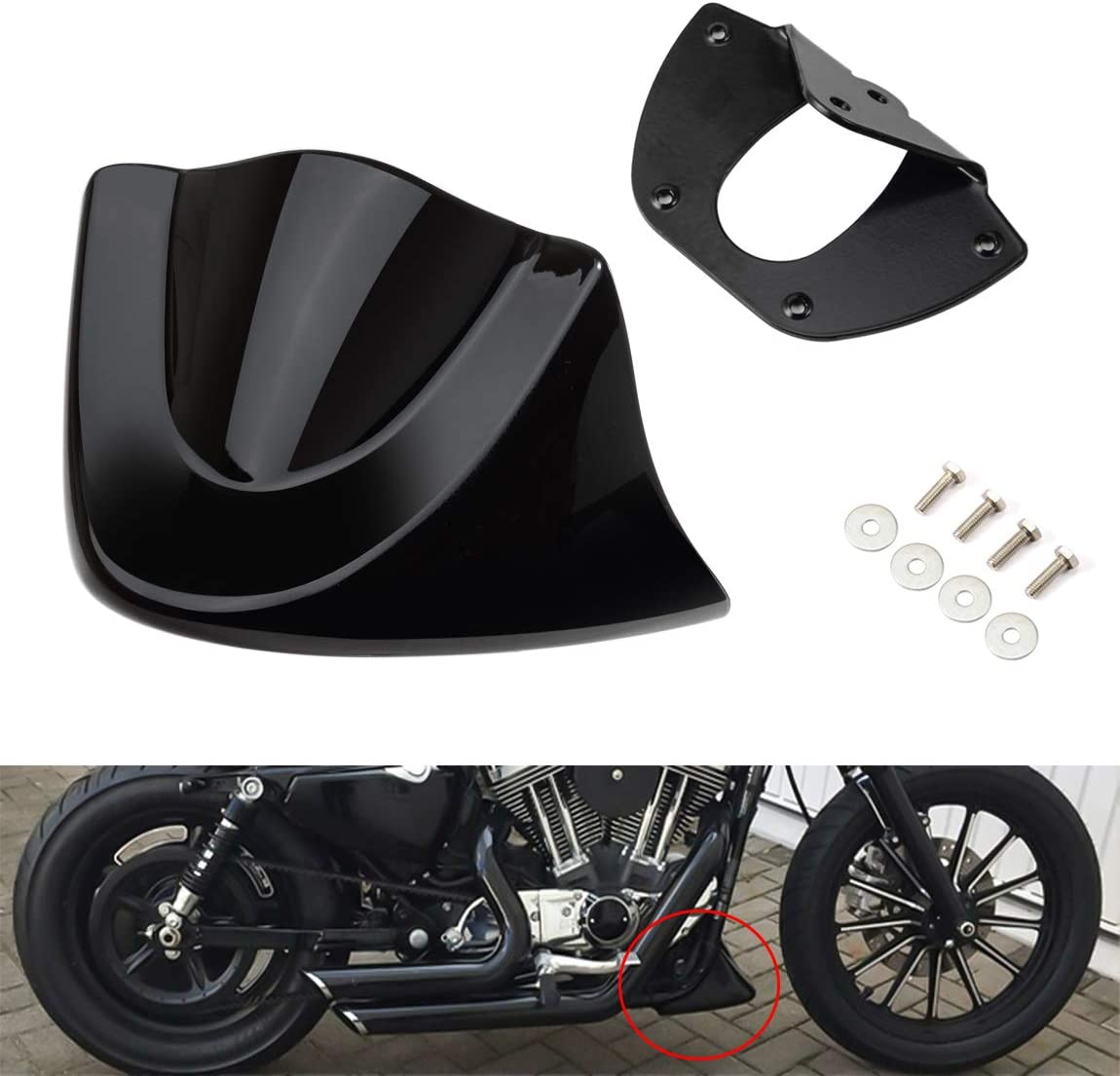 Gloss Black PBYMT Front Chin Spoiler Air Dam Fairing Windshield Mudguard Cover with Metal Bracket Compatible for Harley Davidson Dyna Fat Bob Street Bob Super Wide Glide 2006-2017