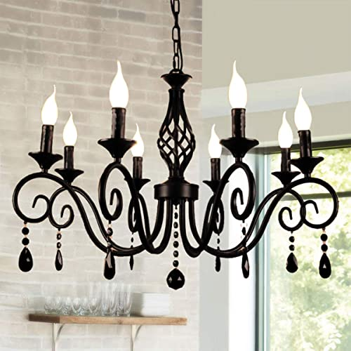 Ganeed Chandeliers,8-Light French Country Crystal Candle Chandelier,Industrial Black Vintage Pendant Light Fixture Hanging Light