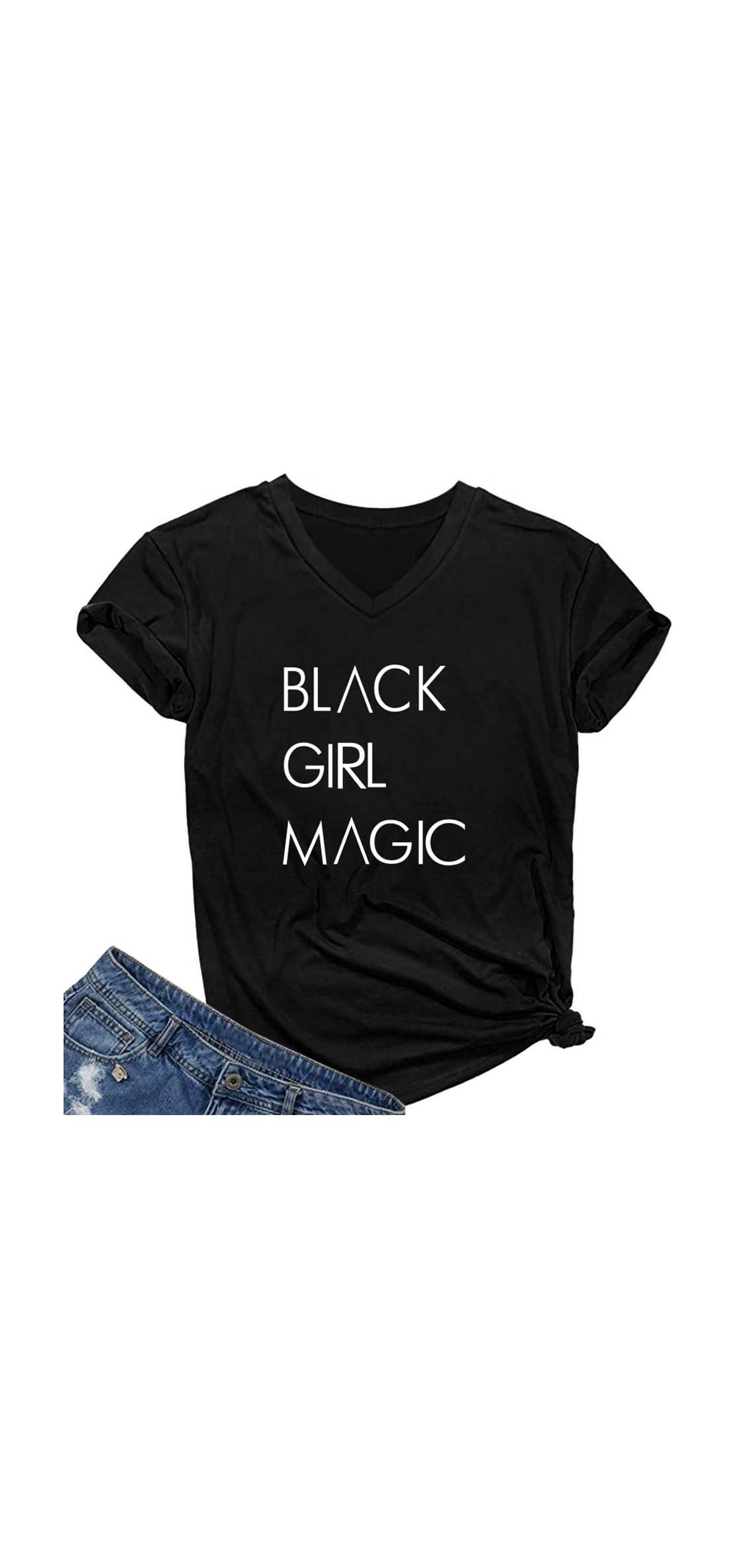 Women Graphic V-neck Black Girl Magic T Shirt Juniors