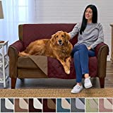 Home Fashion Designs Deluxe Reversible Quilted Furniture Protector and PET PROTECTOR. Two Fresh Looks in One. Perfect for Families with Pets and Kids. By Brand. (Loveseat - Burgundy/Taupe)