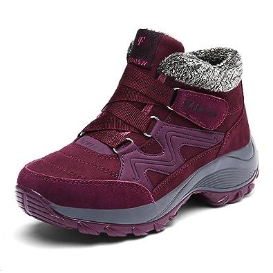 Damen Winter Freizeitschuhe Warm Gefütterte Boots Klettverschluss Winterstiefel Plateau Wander Sneakers Schuhe EU36=23CM Violett IkrbGMZUgB