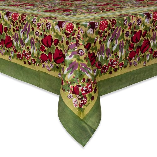 Couleur Nature 71-inches by 106-inches Jardine Tablecloth, Red/Green by Couleur Nature