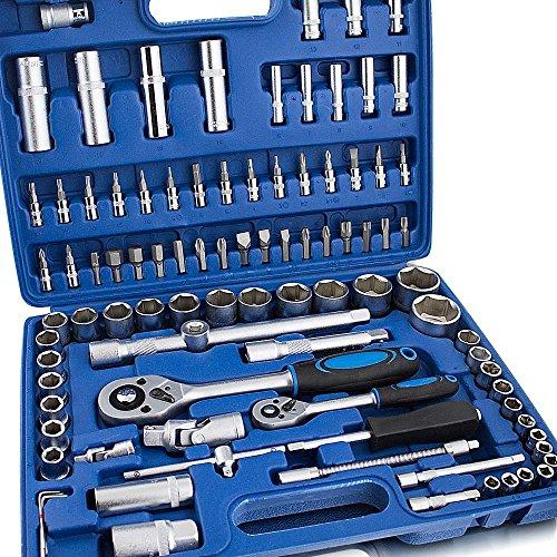 94 teiliges Steckschlüsselset mit Koffer Werkzeugkoffer Stecknüsse Kardangelenk Zündkerzenstecknüsse Ratsche Bits 6-Kant-Schlüssel Verlängerungen Quergriff Torx