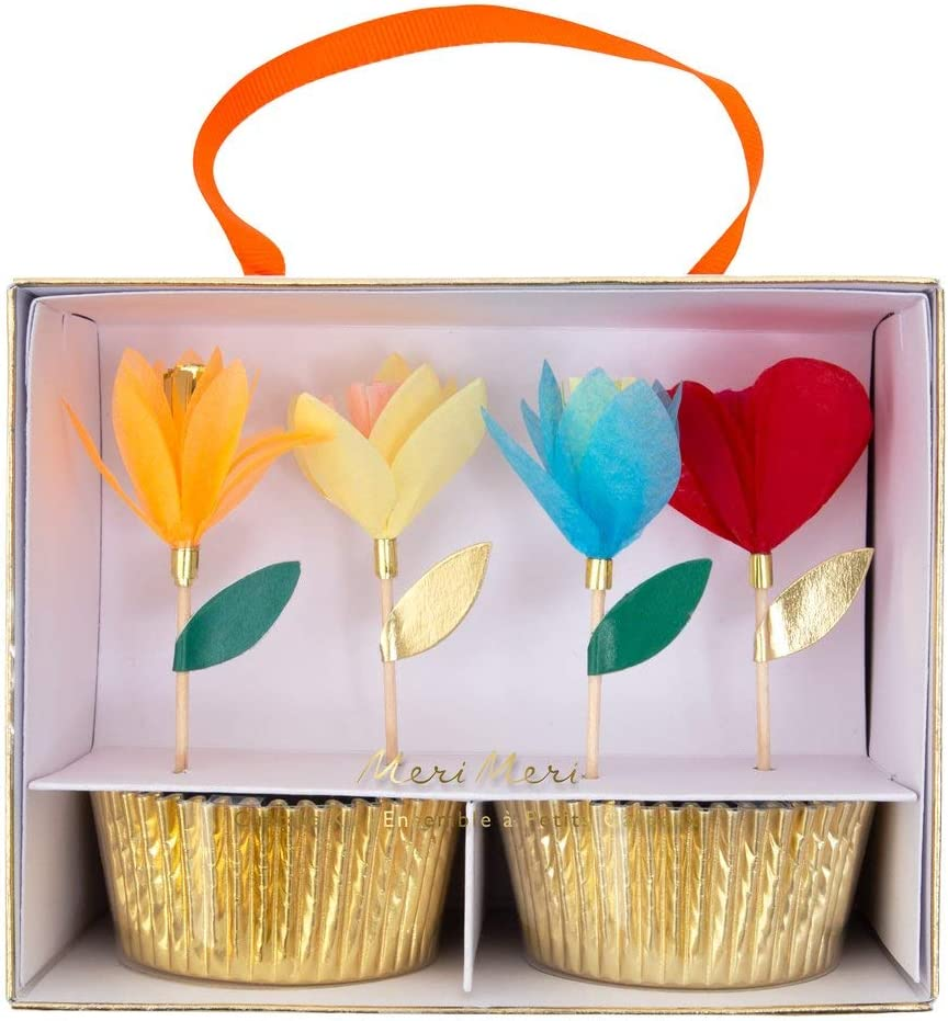 Meri Meri, Bright Tissue Flower Cupcake Kit, DIY Birthday, Party Decorations