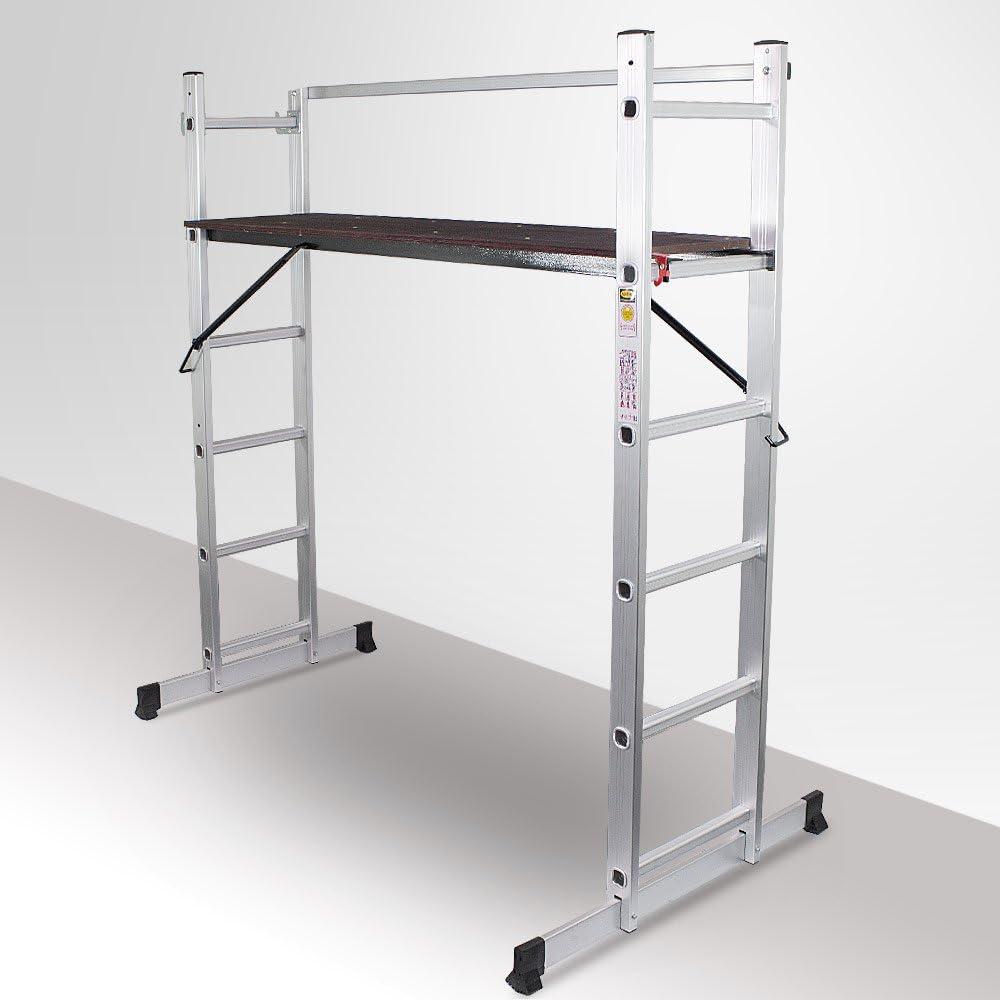 BITTUX - escalera 3 en 1 universal, aluminio, multifunción (Andamio, caballete y escalera): Amazon.es: Bricolaje y herramientas