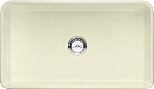 BLANCO 524258 CERANA Apron-Front Farmhouse Kitchen Sink with Grid Included, Biscuit