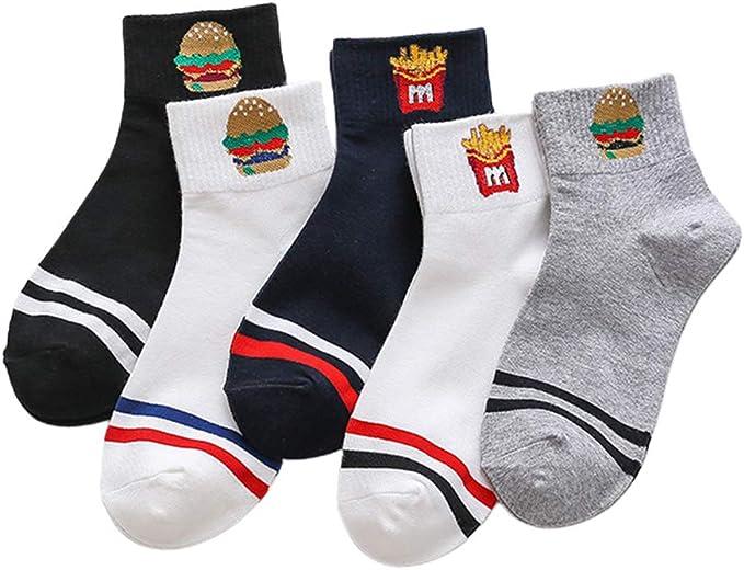 lailongp 5 pares de calcetines tobilleros de algodón a rayas dobles para mujer, para patatas fritas, hamburguesas, hip-hop, hosiery: Amazon.es: Ropa y accesorios