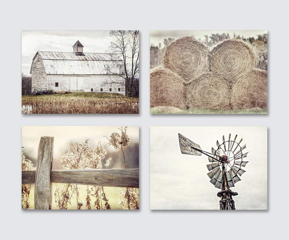 Farmhouse Decor Wall Art Set of 4 Unframed 5x7'' Prints, Country Rustic Landscape Photographs. Barn Fence Hay Windmill. Beige, Tan, White.
