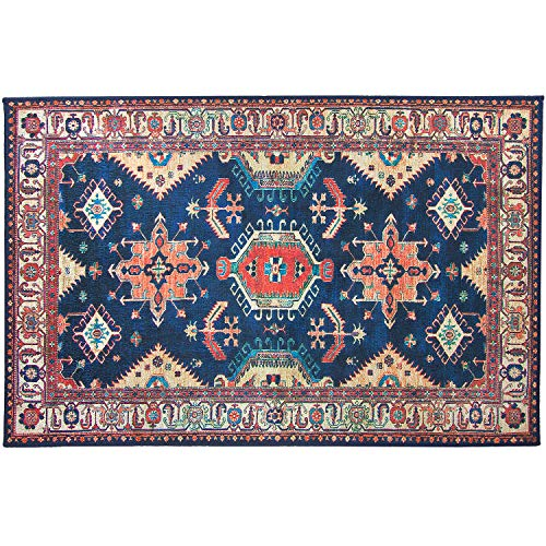 RUGGABLE Washable Stain Resistant Indoor/Outdoor, Kids, Pets, and Dog Friendly Accent Rug 3'x5' Noor Sapphire