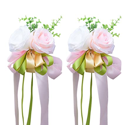 Amazon winomo 2pcs ribbon flower for wedding artificial rose winomo 2pcs ribbon flower for wedding artificial rose wedding car decoration flower mirror door decor junglespirit Gallery