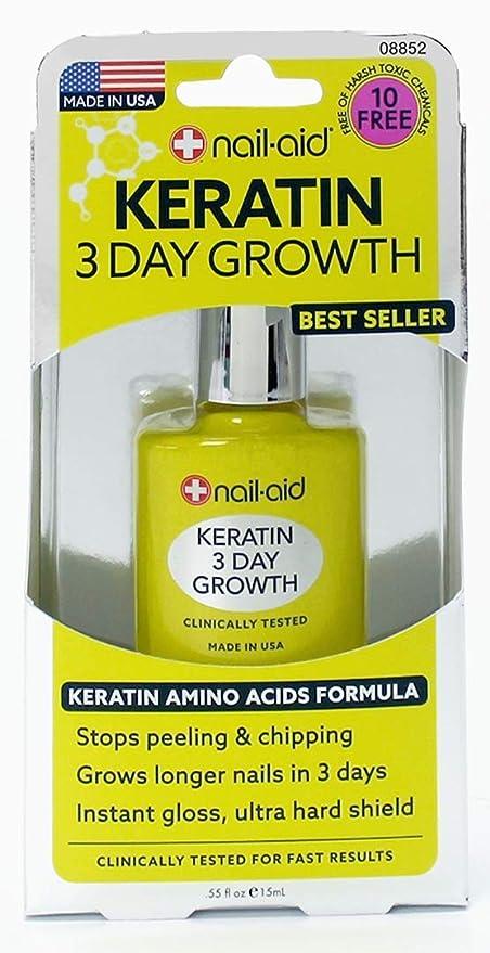 NAIL-AID Keratin 3 Day Growth, Clear, 0.55 Fluid Ounce   Amazon