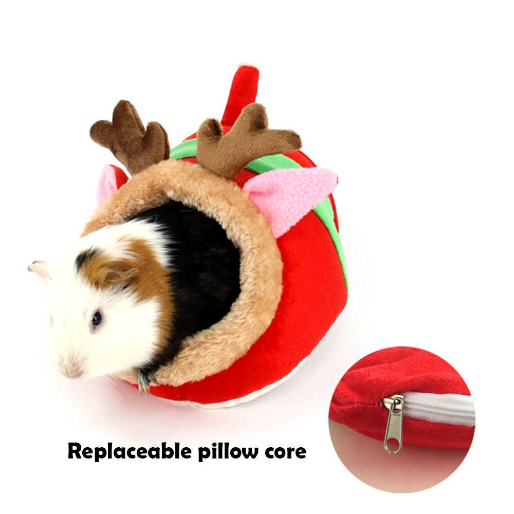 MYIDEA Guinea pigs House,Hedgehog Nest,Rabbits, Chinchillas & Small pet Animals Bed/Cube/House, Habitat, Lightweight, Durable, Portable, Cushion Big Mat For Party Gifts (Small Pet - L, Red elk) by MYIDEA (Image #8)
