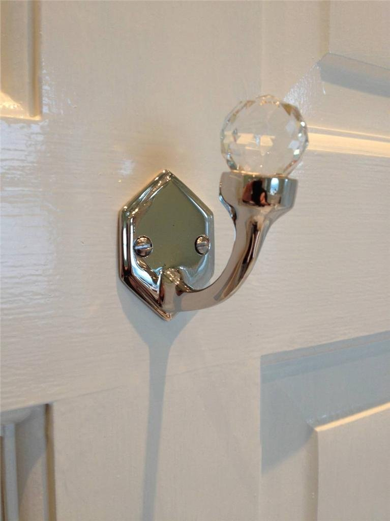 Stunning Cut Glass Single Shiny Nickel Plated Solid Brass Door Wall Hook Hexagonal shaped back plate including fixings