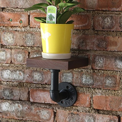 Lil Multi-Function Wall Shelf/Retro Industrial Wind Pipe Wall/Living Room Solid Wood Decorative Frame/Flower Stand (Color : 1 only) by Rack Shelf (Image #2)