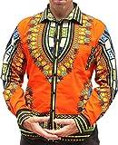 RaanPahMuang Brand Africa Dashiki Boubou Bright Fashion Work Shirt Light Cotton, Medium, Safety Orange