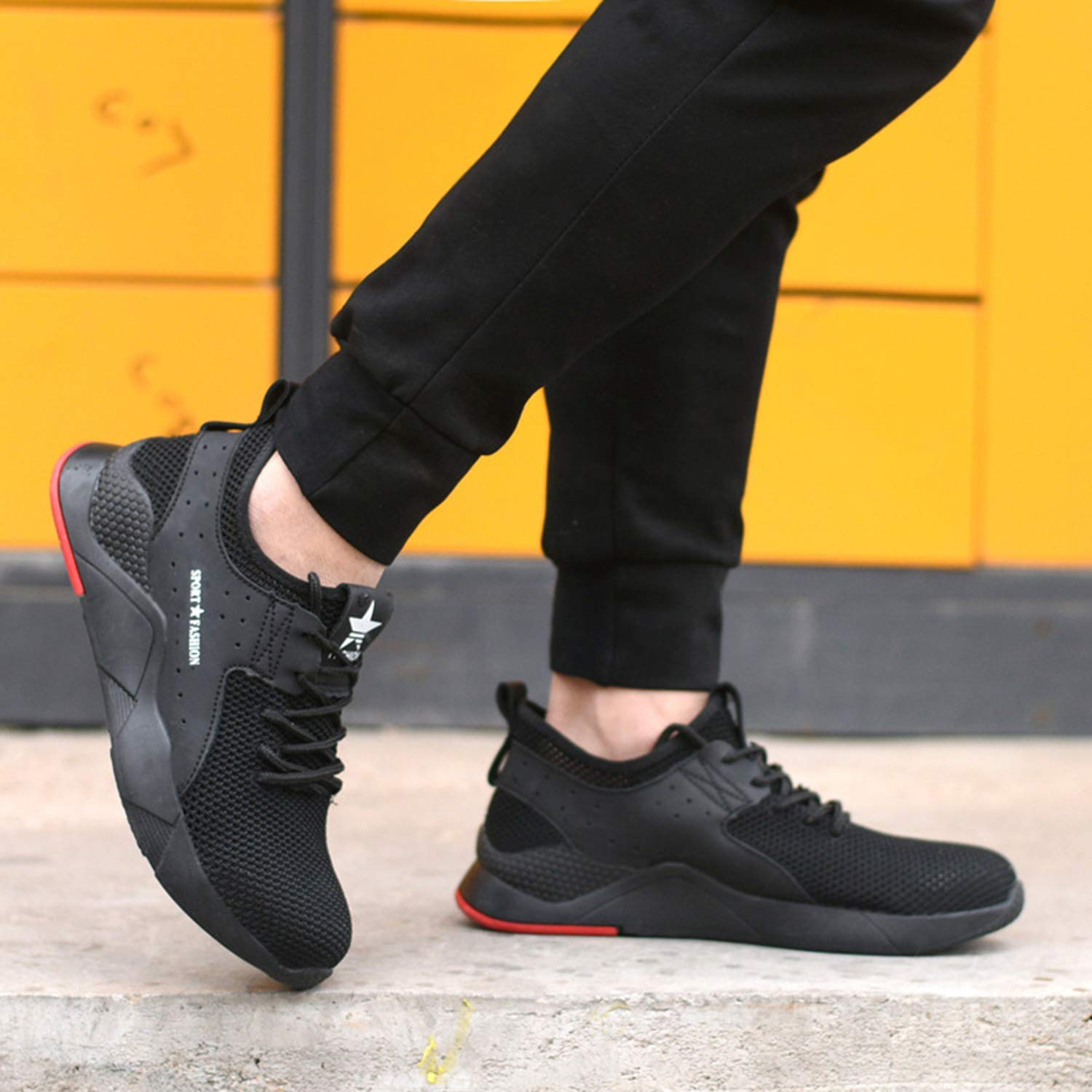 Hu.S.Ye Summer Safety Shoes Men Women Steel Toe Caps Work Shoes Lightweight Construction Industrial Shoes Summer Outdoor Sport Trainers