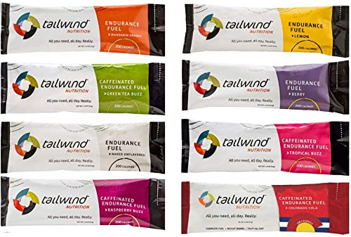 Tailwind Nutrition Endurance Fuel Assorted Flavors 8 Stick Pack Bag – Hydration Drink Mix with Electrolytes, Carbohydrates – Non-GMO, Gluten-Free, Vegan, No Soy or Dairy
