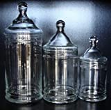 3 pc Set Apothecary Candy Storage Terrarium Glass Jars