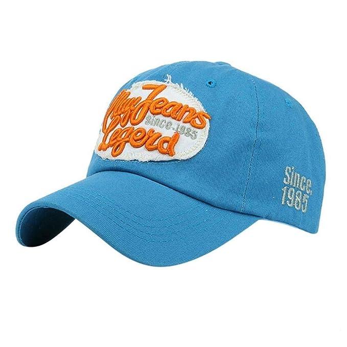 Gorras De Béisbol Mujeres Hombres Cartas Denim Hop Sombrero Hip Plano Gorra Especial Estilo Moda Sombreros Al Aire Libre (Color : Blau, Size : One Size): ...
