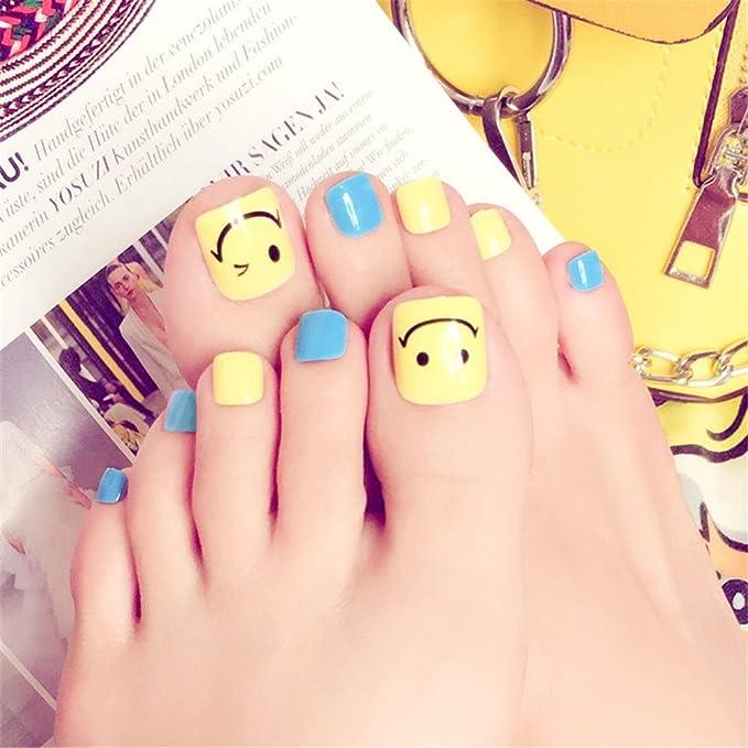 Punta de uñas Nail Art Tip & Glue Smile Pattern Artificial False Toenails Perfect Length Pure Color Full Cover Belleza Art Decoration Manicure para Mujeres ...