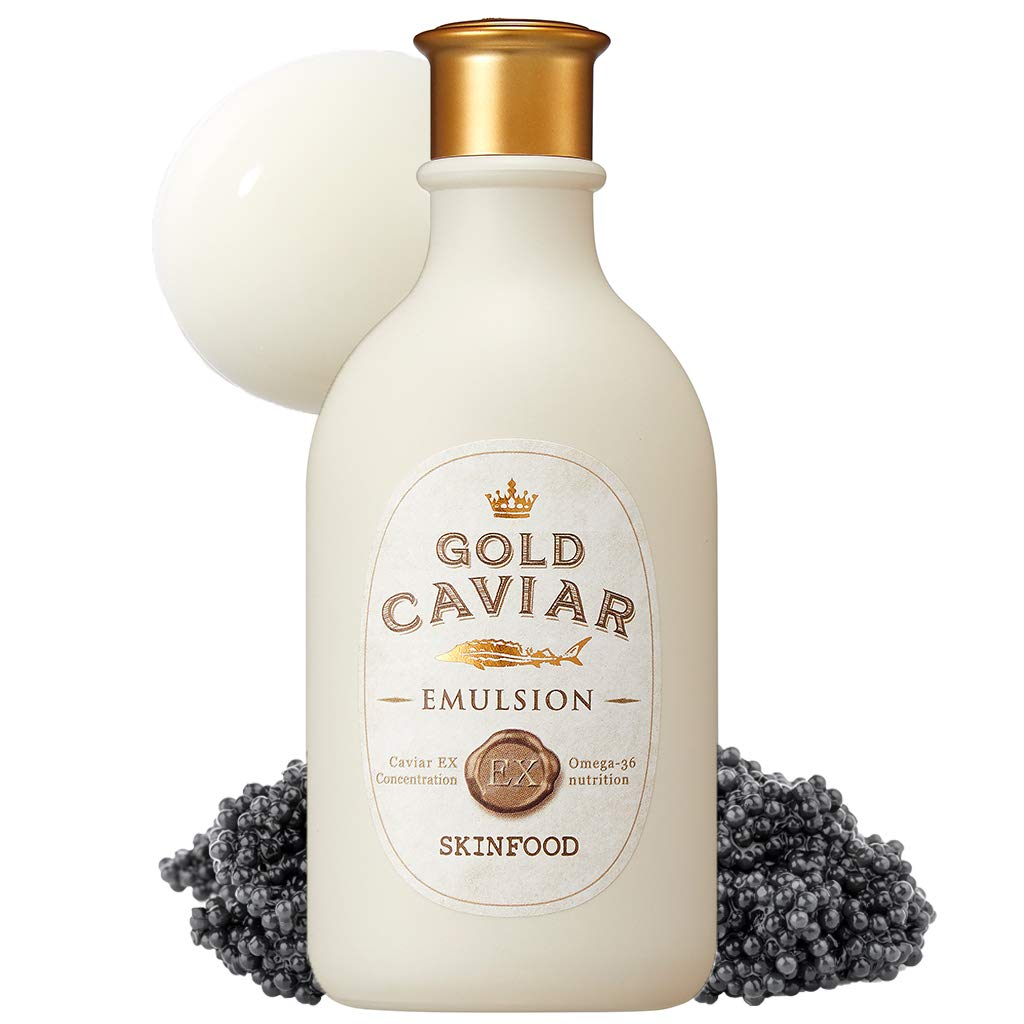 SKINFOOD Gold Caviar EX Emulsion 145ml (4.9 fl.oz) - Concentrated Caviar & Gold Anti-Wrinkle & Nourishing Lotion, For Sagging and Aging Skin