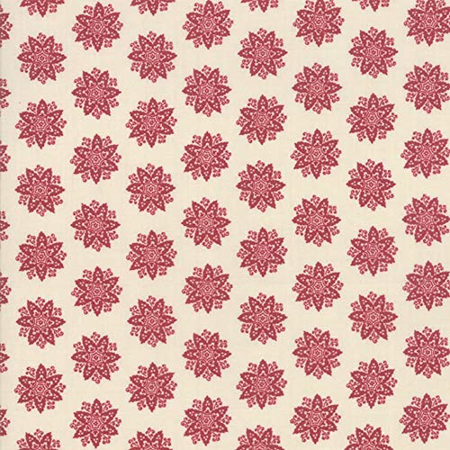 Moda Fabrics French General Fleur de Noel Pearl Rouge Anemone