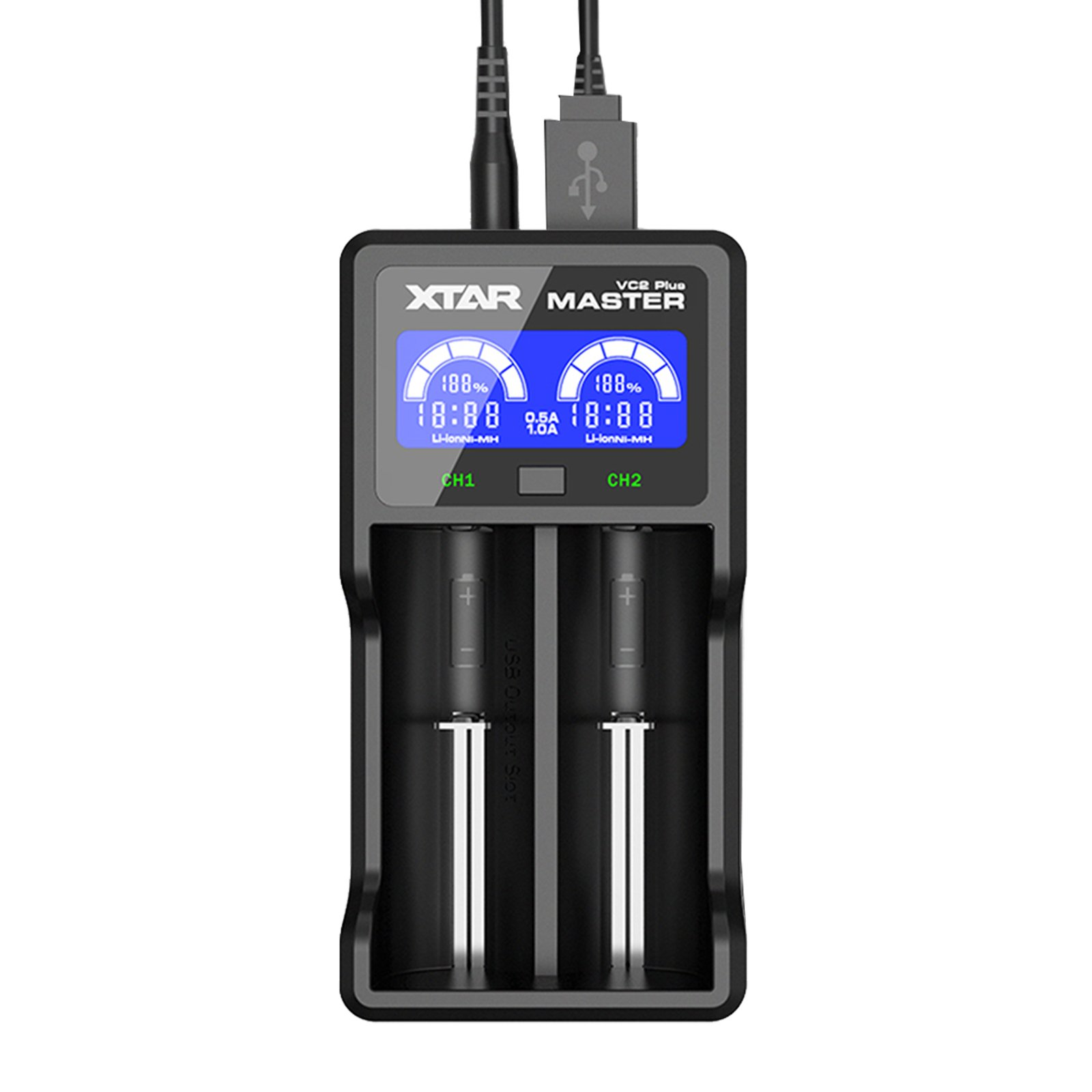 XTAR VC2 Plus Master 2 Slots 1A Current Intelligent USB Battery Charger for 10440/14500/16340/18650/18700/22650/25500/26650 3.6/3.7V Li-ion Battery