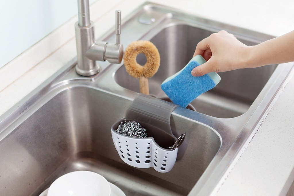 Kitchen Sink Caddy with Drain Strainers Kitchen Bathroom Accessories Sponge Holder Soap Holder Faucet Desk Tool Organizer