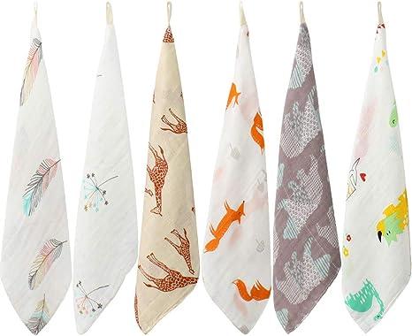 LifeTree Suave Toallas de lavabo, Algodon Toalla Infantil Muselinas Bebe, 27 X 27cm Accesorio de Bebé Pañuelo Para Niños Pack de 6: Amazon.es: Bebé