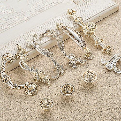 Zhi Jin 4Pcs Luxury Cabinet Handles Wardrobe Shoe Drawer Handle Room Decorative Silver 8603-96mm/3.7Inch by Zhi Jin (Image #3)