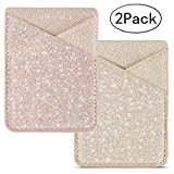 BIAJIYA Phone Card Holder Cell Phone Stick On Phone Glitter PU Leather Sleeve Credit for iPhone Samsung Most Smartphones (Rose/Gold)