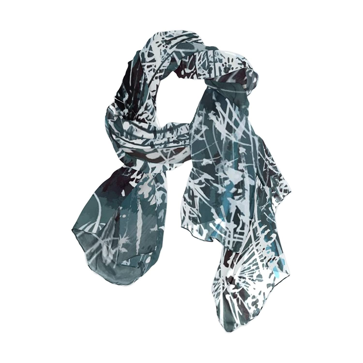 Lightweight Shawl Wrap Sheer Scarves,Abstract Art Floral,Oblong Chiffon Scarf