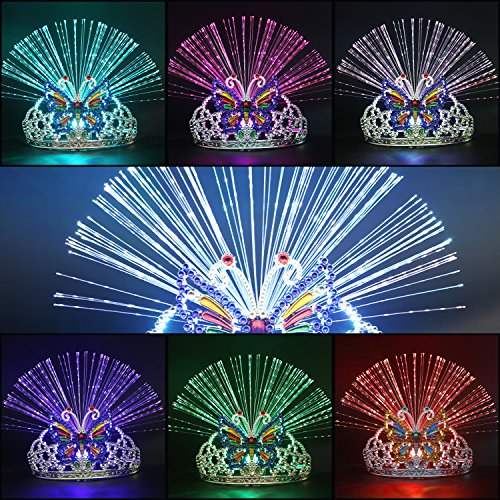 Cade Light Up Tiara Holiday Dance Party Bar Head Band Colorful Head Buckle(6 -