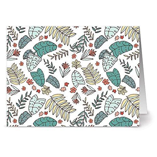 Leaf Holiday Card (24 Note Cards - Aloha Leaves - Blank Cards - Tangerine Zest Orange Envelopes Included)