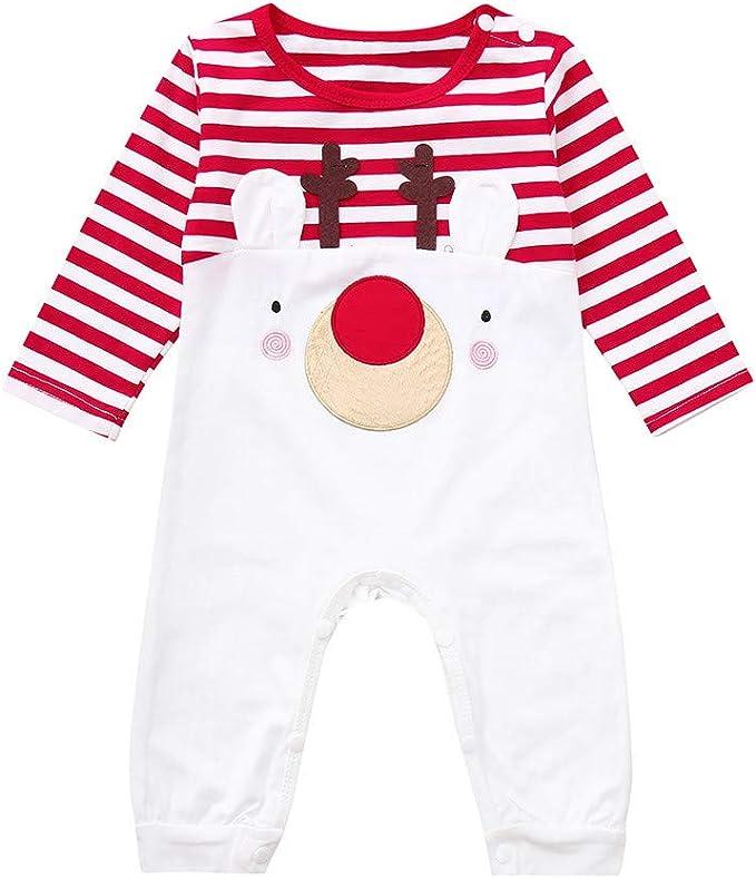 Veepola Toddler Infant Baby Boys Girls Long Sleeve Christmas Deer Styling Striped Jumpsuit Romper