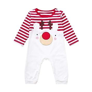 20c2e461055e Amazon.com  Newborn Baby Boys Girls Long Sleeve Deer Print Striped Romper  Jumpsuit Outfits (age 12-18month