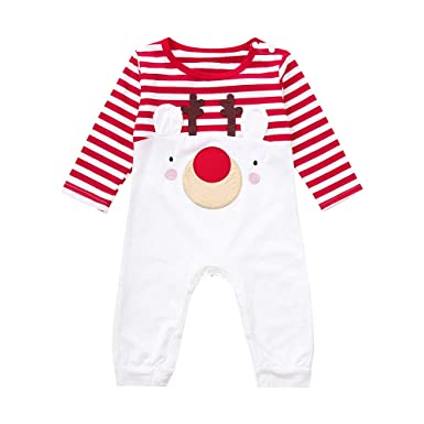 Sameno Toddler Infant Baby Boys Girls Christmas Deer Striped Romper Jumpsuit Outfits Clothes